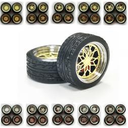 1/64 Scale Alloy Bigger Wheels Plus Brake Caliper Rubber Tir