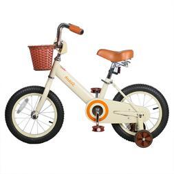 JoyStar 14 Inch Vintage Kids Bike for Girls with Front Baske