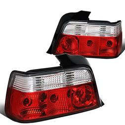 For 1992-1998 BMW 3-Series E36 4Dr Sedan Pair Red/Clear Tail