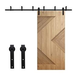 4-20FT Sliding Barn Door Hardware Kit Black Top Ceiling Moun