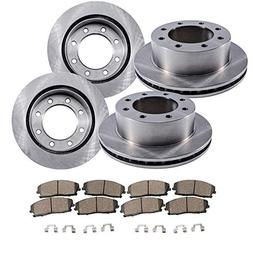 Detroit Axle - 8-LUG FRONT & REAR Brake Rotors & Ceramic Bra