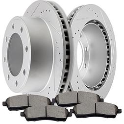 SCITOO Brake Kit Slotted and Drilled Discs Brake Rotors and