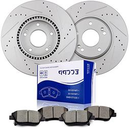 ECCPP Brake Kits, 2pcs Front Discs Brake Rotors and 4pcs Cer