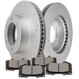 SCITOO Brake Kits, 2pcs Slotted Drilled Brake Discs Rotors a