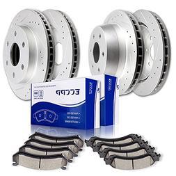 ECCPP Brake Rotor 4pcs Slotted Drilled discs and 8pcs Cerami
