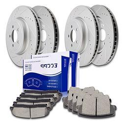 Brakes ECCPP 4pcs Front Rear Discs Brake Rotors and 8pcs Cer