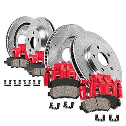 FRONT + REAR Powder Coated Red  Calipers +  Rotors + Quiet L
