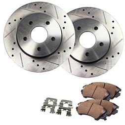Detroit Axle - Drilled & Slotted FRONT Brake Rotor Set & Bra