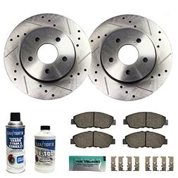 Detroit Axle - Drilled & Slotted Front Brake Rotors & Brake