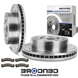 Cencore Brake Kit with 2 Drilled Slotted Brake Rotors & 4 B