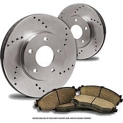 2 Cross-Drilled Disc Brake Rotors + 4 Ceramic Pads