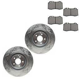 Front Non Drilled Rotor& Semi Metallic Disc Brake Pad Kit fo