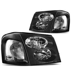 For GMC Envoy 2nd Gen XL SUV Pair of Black Housing Clear Cor