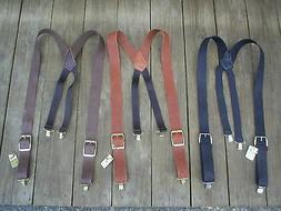 Handmade USA Black/Brown/Tan LEATHER Clip on Suspenders Brac