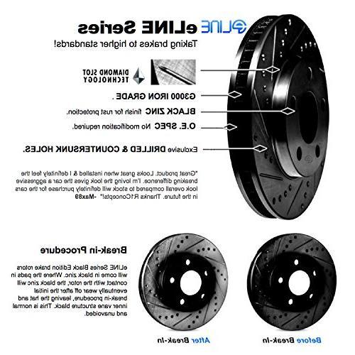 Front,Rear Eline Series Black Drilled Slotted + Ceramic