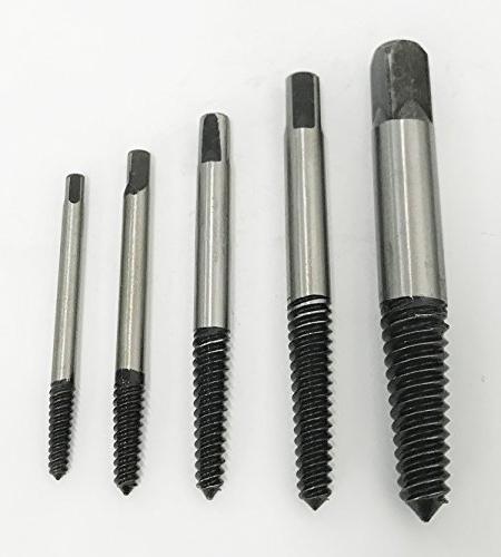 5pc screw extractor kit set broken bolt
