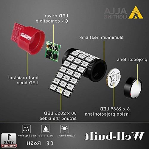 Alla Lighting LED Brake Bulbs Super 7440 7443 Pure Red High Power 7443 Strobe Brake Stop Light Bulbs, Red