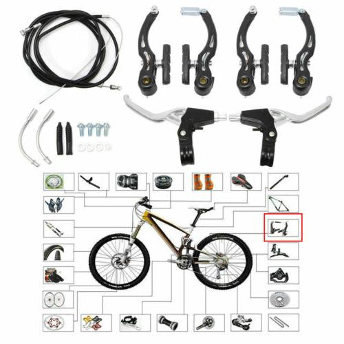 Complete Mountain Bicycle Caliper V-Brake Set Cables Alloy Lever BMX MTB Bikes