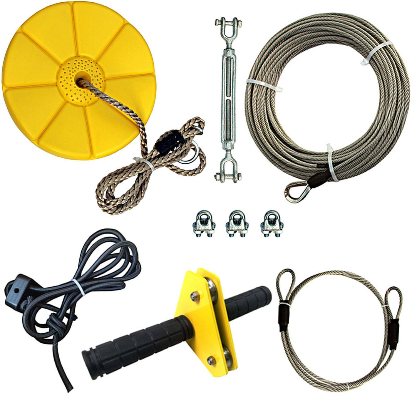 Backyard Zip Line Kits With Steel Cable,Trolley,Bungee Brake
