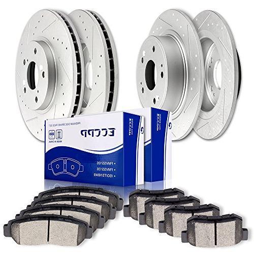 brake rotors pads kits full set slotted