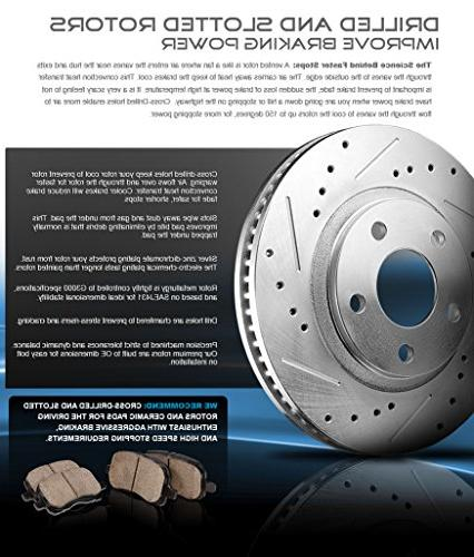FRONT Drilled/Slotted Rotors + Low Ceramic Kit