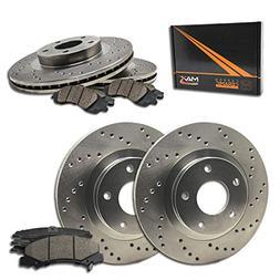 Max Brakes Cross Drilled Rotors w/Ceramic Brake Pads Front +