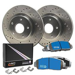 Max Brakes Front Cross Drilled Rotors w/M1 Brake Pads Suprem