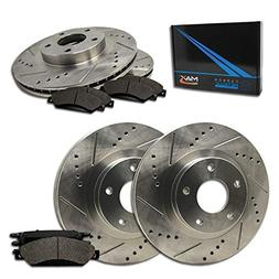 Max Brakes Front + Rear Premium Slotted Drilled Rotors w/Met