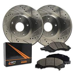 Max Brakes Premium Slotted|Drilled Rotors w/Ceramic Brake Pa
