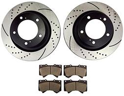 Atmansta QPD10002 Front Slotted & Drilled Rotors and Ceramic