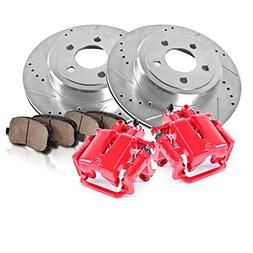 REAR Powder Coated Red  Calipers +  5 Lug Rotors + Quiet Low