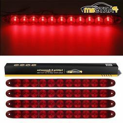 "Partsam 4PCS Red 15"" Waterproof 11 LED Light Bar Stop Turn T"