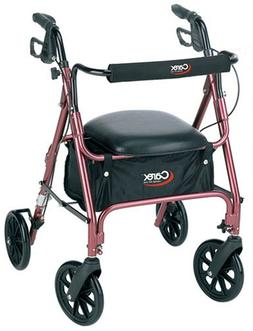 Carex Rolling Walker / Rollator with Padded Seat and Backres
