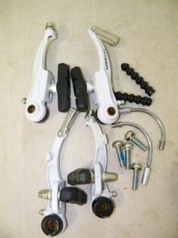 SET WHITE TEKTRO BICYCLE V-BRAKES W/NOODLES BIKE PARTS 632