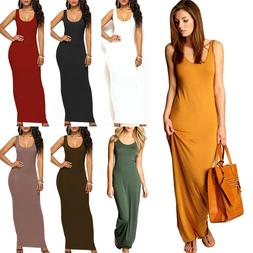 Women Maxi Dress U Neck Sleeveless Long Solid Ladies Summer